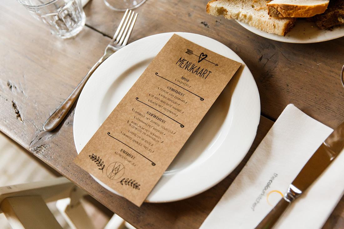 menukaartje diner bruiloft
