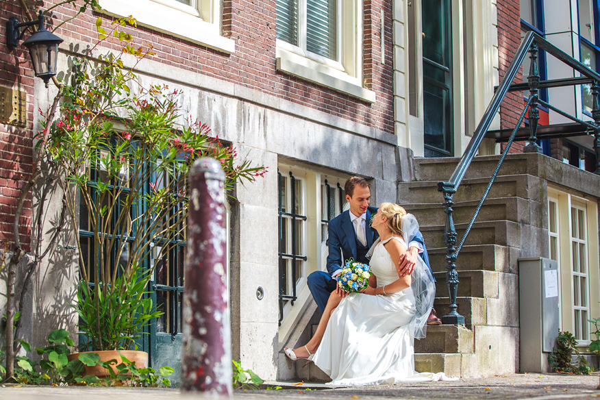 Bruidsreportage Amsterdamse gracht