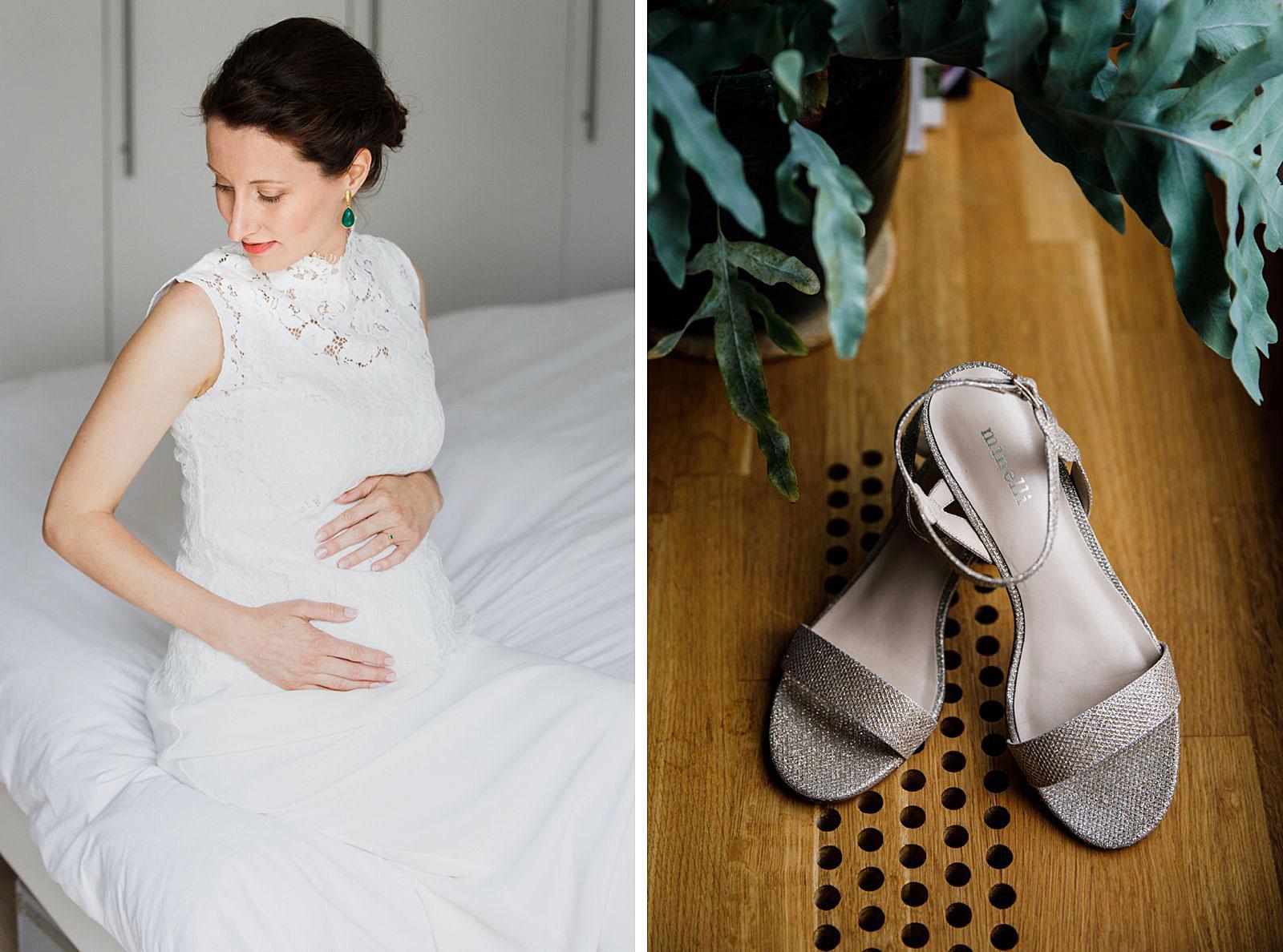 zwangere bruid trouwschoenen